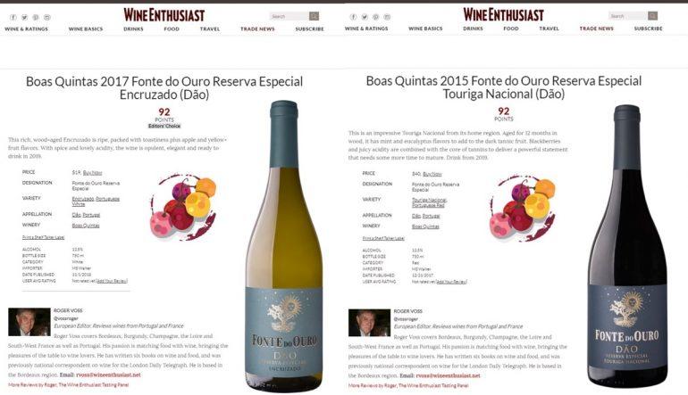 Fonte do Ouro recebe 92 pontos em prova da Wine Enthusiast